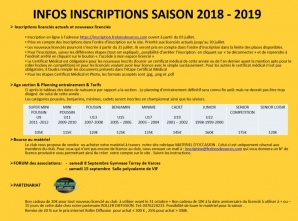 INFOS INSCRIPTION 2018-2019